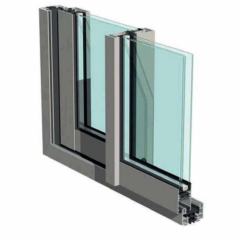sezione serramento in alluminio scorrevole
